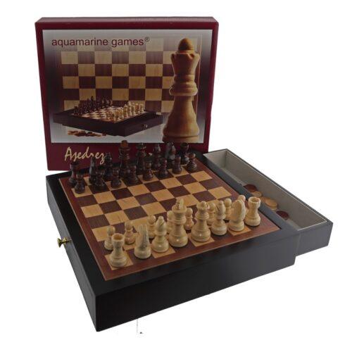 Mueble lacado en negro ajedrez y damas