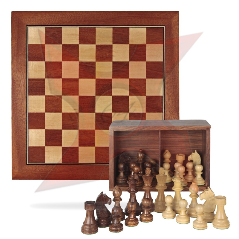 Conjunto Tablero 50x50 + Piezas de madera Staunton 6